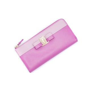 Salvatore Ferragamo 'Vara' Pink Two-Tone Continental Wallet