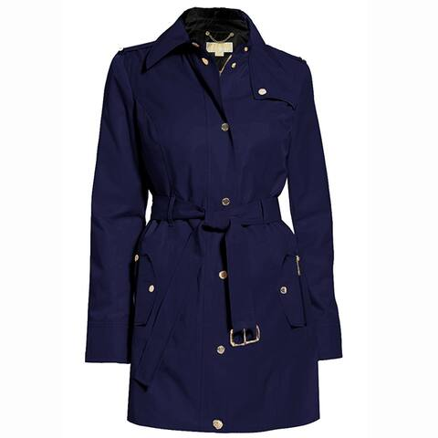 Michael Kors Womens Navy Blue Hooded Belted Trench Coat Jacket