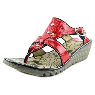 Fly London Ozzy Damani Women Open Toe Leather Red Thong Sandal