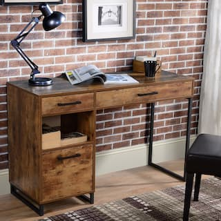 Rustic Wood Computer Desk w/ drawers
