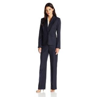 Le Suit One Button Pinstriped Jacket Pant Suit