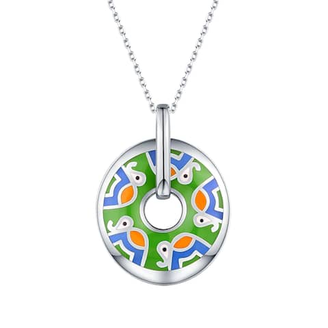 Vedantti Madhubani Art Elephant Multi Color Enamel Open Circle Pendant