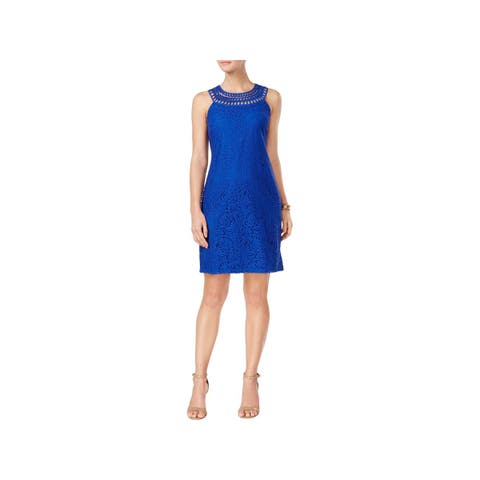 Jessica Howard Womens Petites Cocktail Dress Lace Above Knee