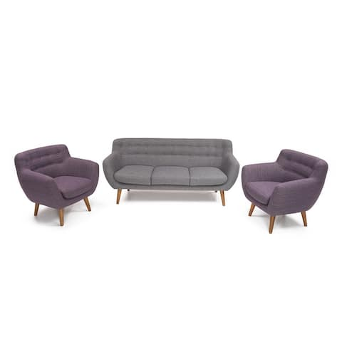 Rhodes Mid-Century Modern 3pc Living Set in Blue Velour by RST Brands®