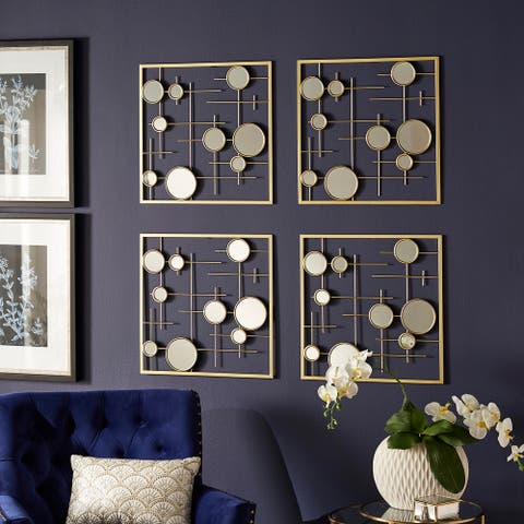 Zara 4-Piece Gold Square Wall Mirror with Bubbles by iNSPIRE Q Bold