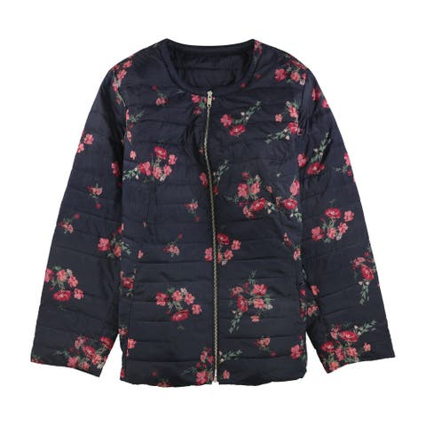 Charter Club Womens Floral Quilted Jacket, Blue, 1X