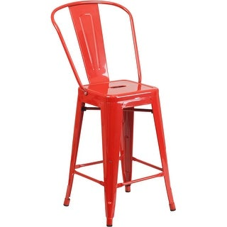 Collins 24'' High Red Metal Indoor/Outdoor/Patio/Bar Counter Height Stool w/Back