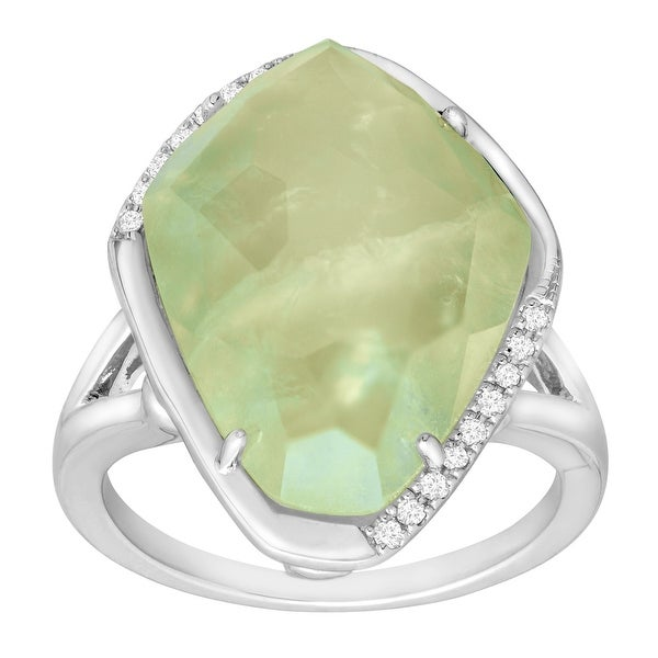 9 5/8 ct Natural Prynite Ring with Diamonds in Sterling Silver - Green