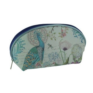 Blue Peacock Print Portable Storage and Travel Makeup Clutch Bag