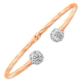 Crystaluxe Cuff Bracelet with Swarovski Crystals in 14K Rose Gold-Plated Sterling Silver - White