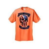 Men's T-Shirt USA Flag Skull Live Free Or Die Stars & Stripes Skeleton Bones Tee