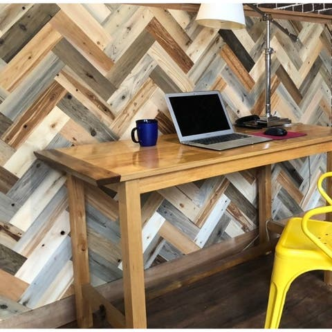 Timberchic Reclaimed Wooden Wall Planks - Peel and Stick Application (Herringbone Pattern)