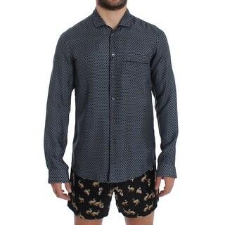 Dolce & Gabbana Dolce & Gabbana Blue Motive Print SILK Pajama Shirt Sleepwear - S