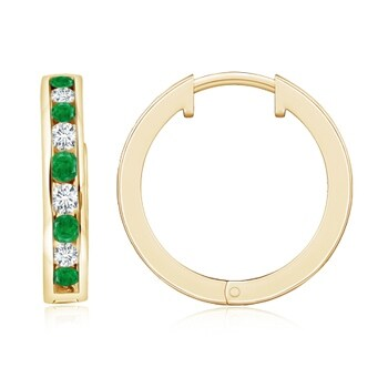 Angara Channel-Set Round Emerald Hinged Hoop Earrings in 14K Yellow Gold LOpTll