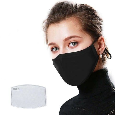 Reusable Washable Black Cloth Face Mask with 12 PM2.5 Carbon Filters