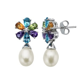 2 3/4 ct Multi-Stone & Freshwater Pearl Drop Earrings in Sterling Silver - Multi-Color
