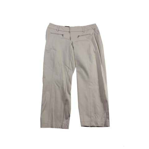 Inc International Concepts Beige Straight-Leg Cropped Zipper-Pocket Pants 12