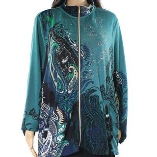 Sportelle Green Embellished Women's Size 1X Plus Full Zip Jacket