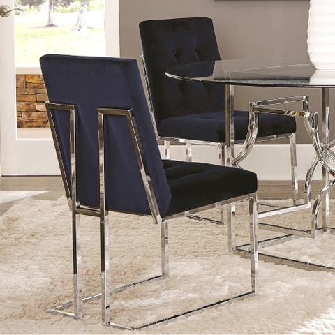 Modern Chrome Artistic Floating Design Tufted Dark Blue Dining Chairs (Set of 2)