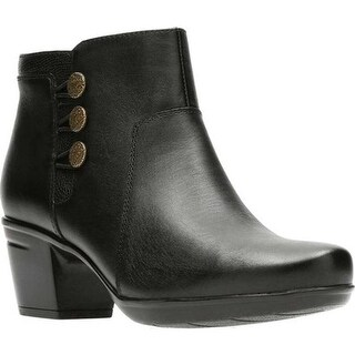 Clarks Women's Emslie Monet Bootie Black Full Grain Leather
