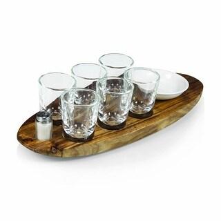 Picnic Time 828-00-505-000-0 Cantinero Shot Serving Tray & Glass - Acacia