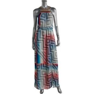 Charlie Jade Womens Printed Embellished Maxi Dress