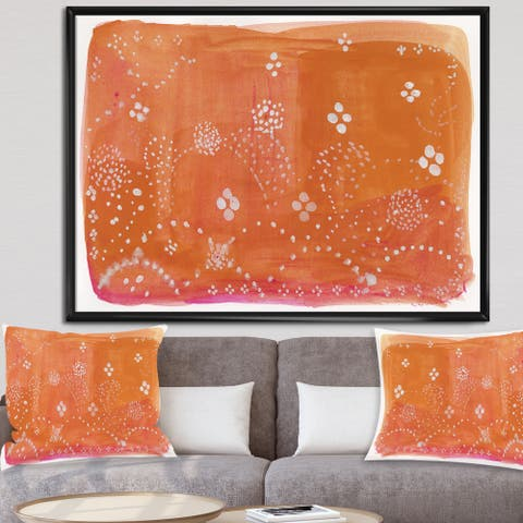The Curated Nomad 'Indian Orange Composition' Mid-century Modern Framed Canvas Wall Art