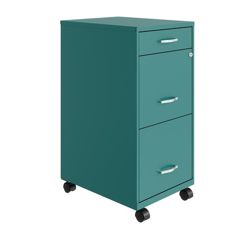 """Space Solutions 18"""" Deep 3 Drawer Mobile Metal File Cabinet, Teal"""