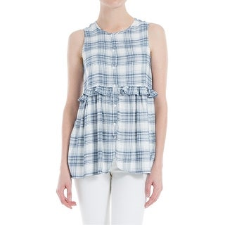 Max Studio London Ruffled Button Front Plaid Top
