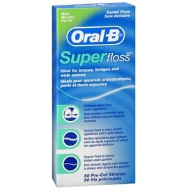 Oral-B Super Floss Mint Dental Floss Pre-Cut Strands 50 Each