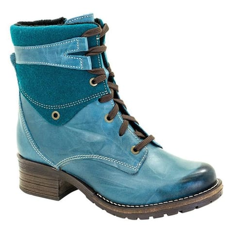 Dromedaris Women's Kara Burel Lace Up Boot Teal Leather
