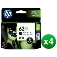 HP 62XL High Yield Black Original Ink Cartridge (C2P05AN) (4-Pack)