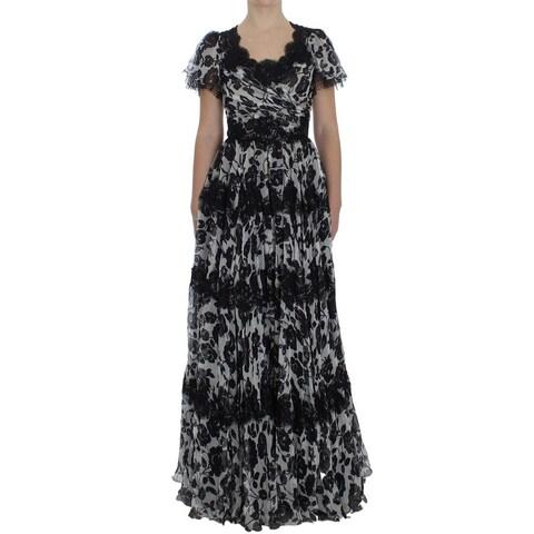 Dolce & Gabbana Dolce & Gabbana Black Silk Floral Lace Ricamo Ball Maxi Dress