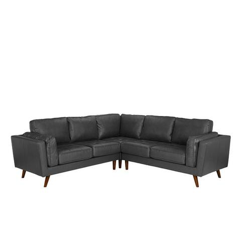 Mid Century Living Room Tufted Leather Match Sectional Sofa