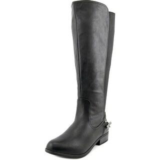 Nautica Ridgeland Wide Calf Women W Round Toe Leather Black Knee High Boot