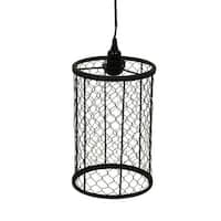 Rustic Faux Aged Finish Metal Mesh Wire Cage Pendant Lamp