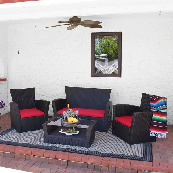 Sunnydaze Brisbane 4 Piece Rattan Patio Furniture Set, Multiple Color Options