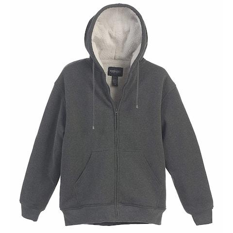 Gioberti Mens Sweater Gray Size Small S Full Zip Sherpa-Lined Full-Zip