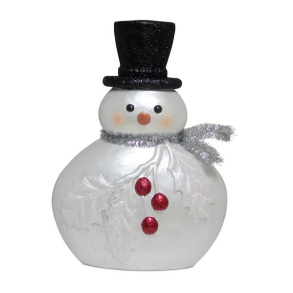 """Pack of 2 Paper Pulp Snowmen with Holly and Berries Figurines 15"""" - WHITE"""