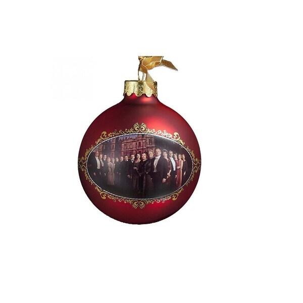 "Downton Abbey Season 3 Burgundy Glass Ball Christmas Ornament - 3.5"" (90mm)"