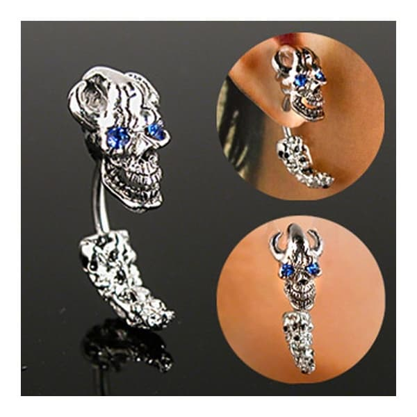 "Curved Skull Head and Tail with Blue Eye Gem - 14GA 3/8"" Long (Sold Ind.)"
