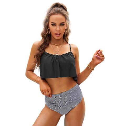 Cali Chic Women's Two Piece Swimsuit Celebrity Glowing Top Black and Striped Bottom High Waist Swimwear