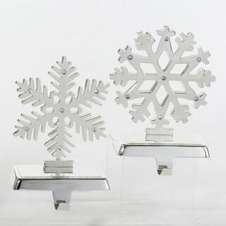 Pack of 4 Silver Elegant Snowflake Christmas Stocking Holders