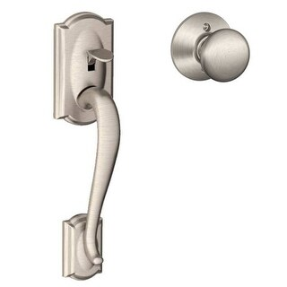 Schlage Camelot Satin Nickel Handleset With Georgian