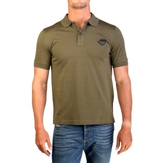 Prada Men's Pique Cotton Short Sleeve Polo Shirt Military Green