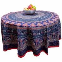 "Handmade 100% Cotton Elephant Mandala Floral 81"" Round Tablecloth Red Blue"
