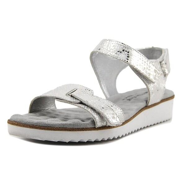 Walking Cradles Halle Women Open Toe Leather White Wedge Sandal