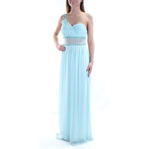CITY STUDIO Womens Light Blue Illusion Sleeveless Asymetrical Neckline Full Length Sheath Prom Dress Juniors Size: 1