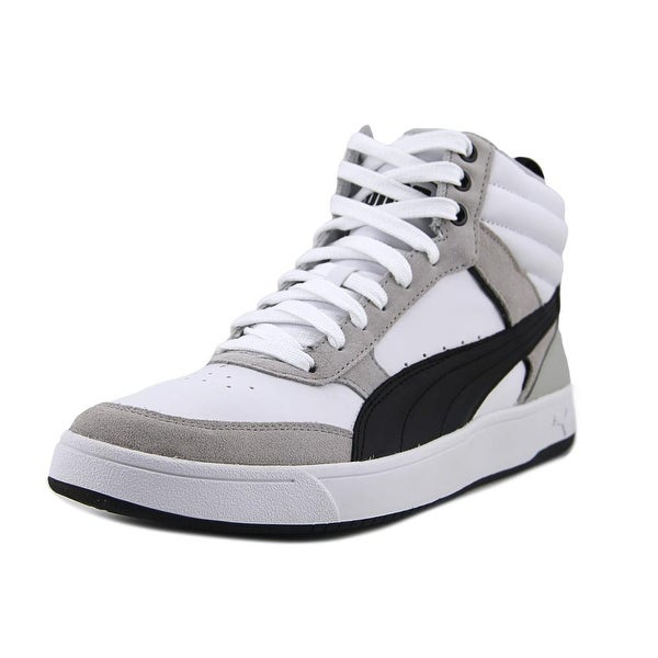 Puma Rebound Street v2 Men Round Toe Leather White Sneakers