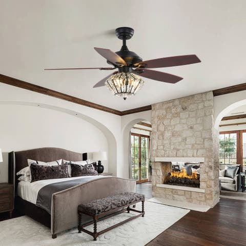 """52-inch luminous ceiling fan with crystal lampshade - 52""""W*52""""D*25""""L"""